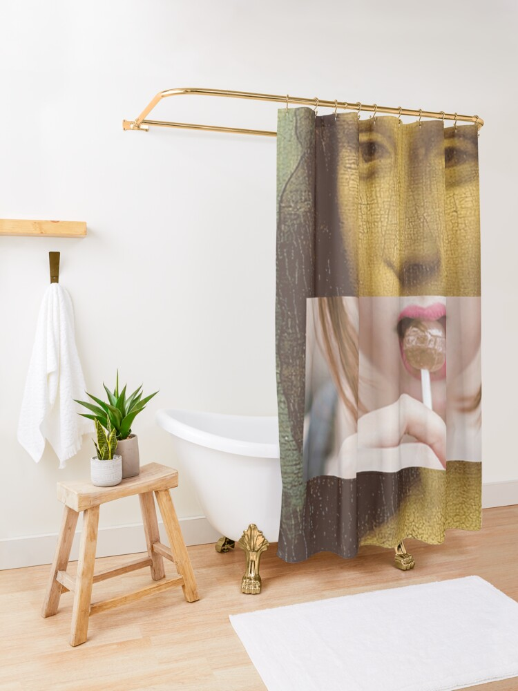 Alternate view of Mona Lisa Lollipop Selfie Pop Culture Print Shower Curtain