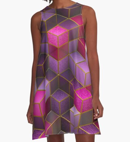 Geometric Cube Square Surface Texture Rave  A-Line Dress
