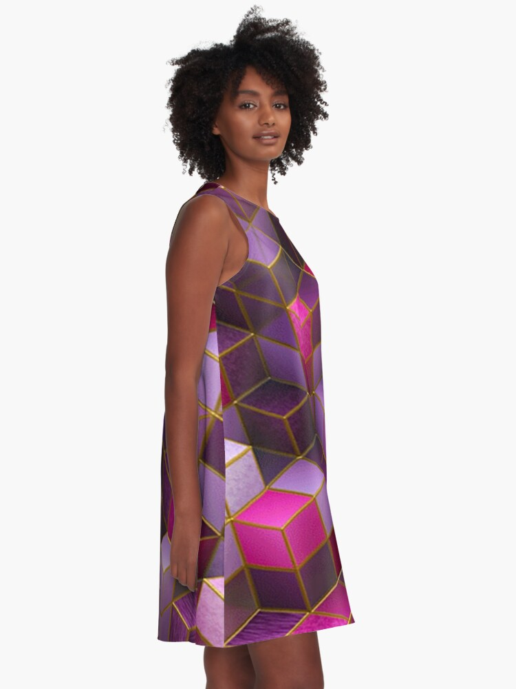 Alternate view of Geometric Cube Square Cyberpunk Punk Rave Wear A-Line Dress