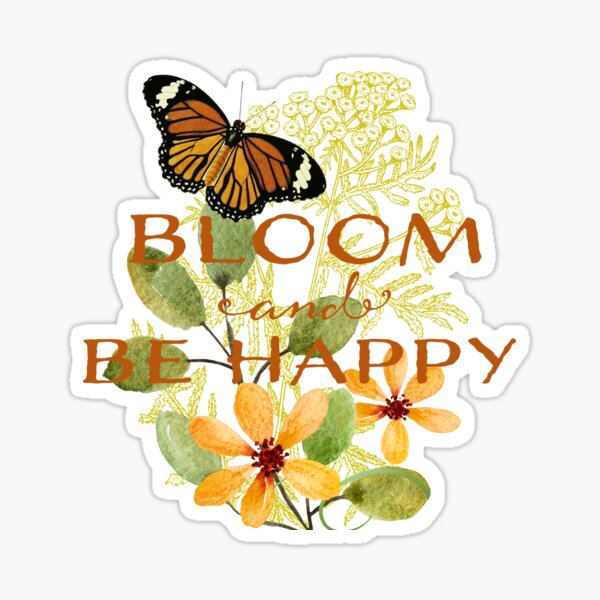 Blooming Butterfly Happiness Sticker