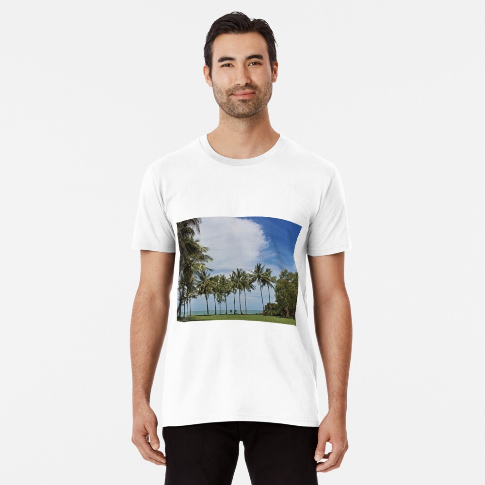 Tropical waterfront park with palm trees Premium T-Shirt