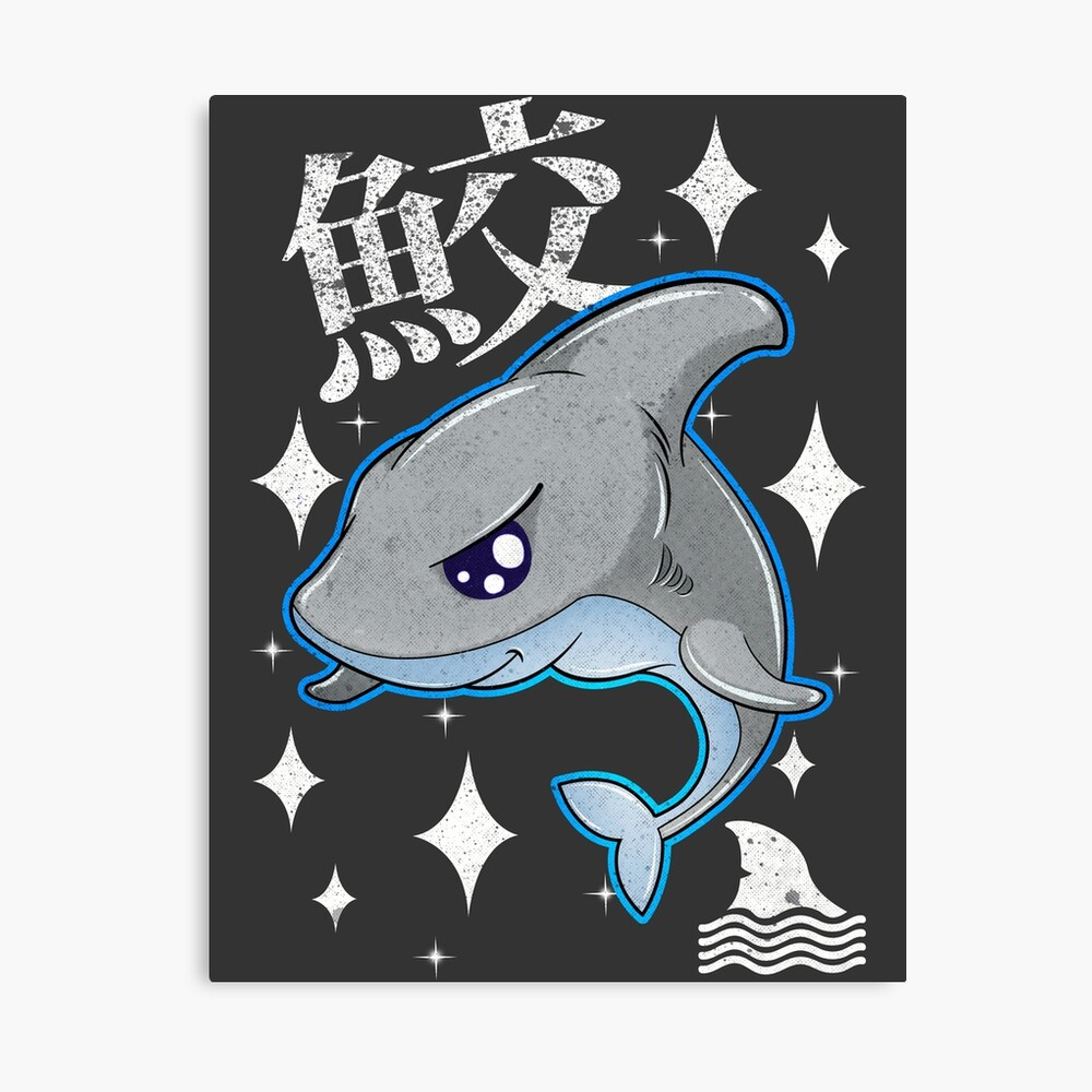 A Cute Chibi Shark In Japanese Poster By Jcdesigner Usa Redbubble