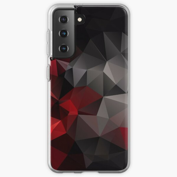 Abstract background of triangles polygon wallpaper in black red colors Samsung Galaxy Soft Case