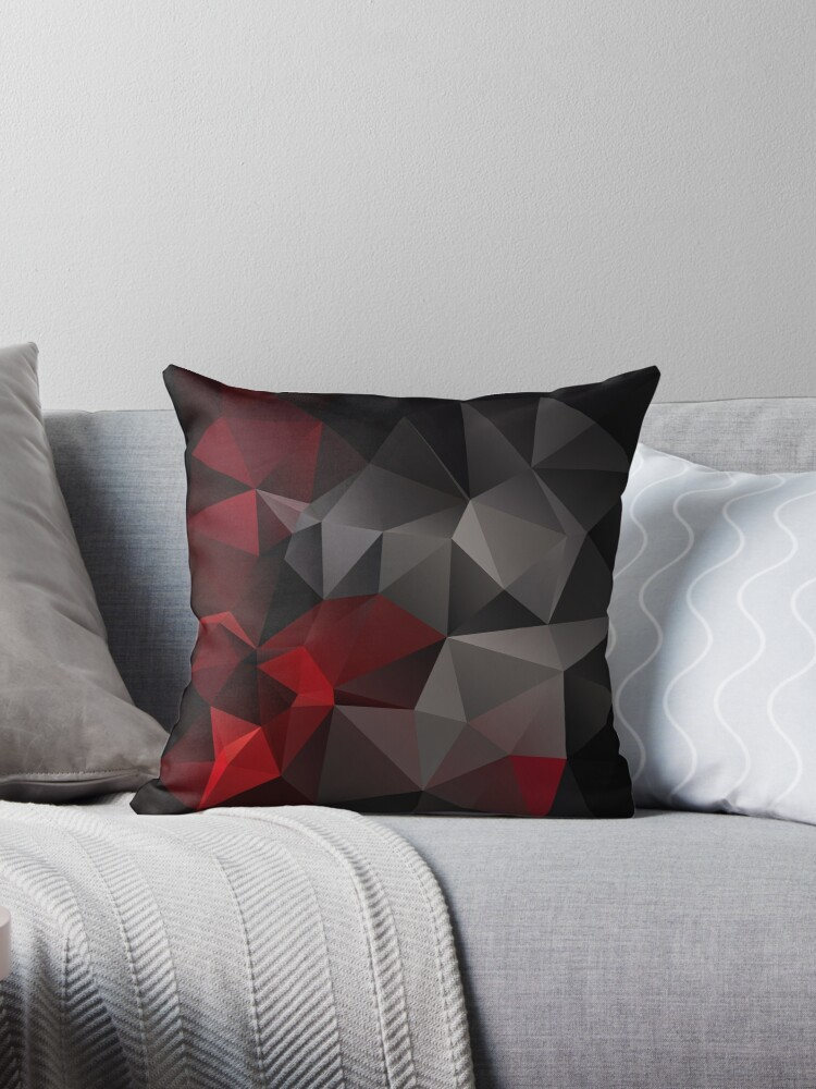 Abstract background of triangles polygon wallpaper in black red colors by fuzzyfox
