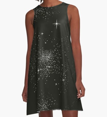 Galaxy Space Stars Astrology Night Time Black A-Line Dress