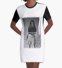 Alycia Debnam-Carey Black and White Name Graphic T-Shirt Dress