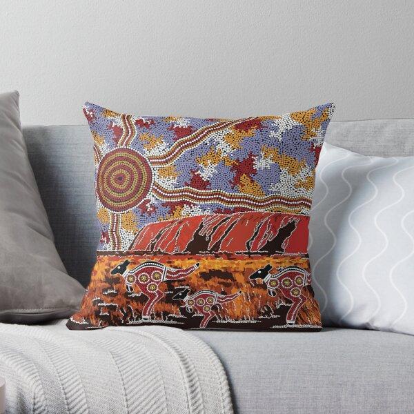Authentic Aboriginal Art - Uluru | Ayers Rock Throw Pillow