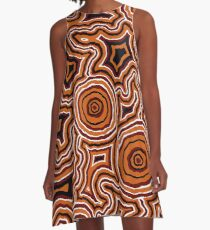 Aboriginal Art - Pathways - Authentic Design A-Line Dress