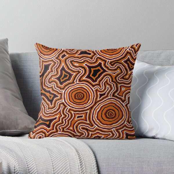 Authentic Aboriginal Art - Pathways - Authentic Design Throw Pillow