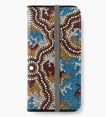 Aboriginal Art Authentic - Wetland Dreaming iPhone Wallet/Case/Skin