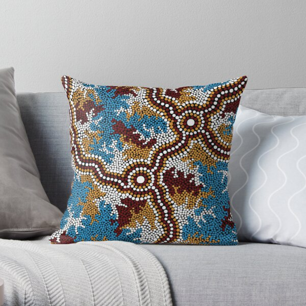 Aboriginal Art Authentic - Wetland Dreaming - 100% Authentic Direct from Artist Throw Pillow