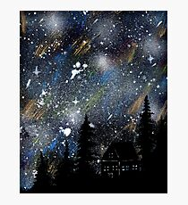 Cabin in the Night Woods Photographic Print