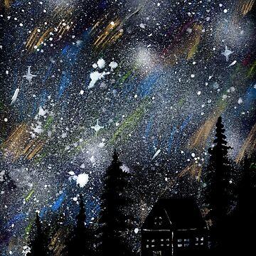 Cabin in the Night Woods by missmann