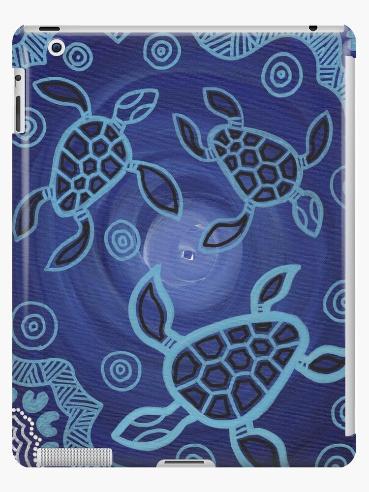 Aboriginal Art Authentic Sea Turtles Ipad Cases Skins By