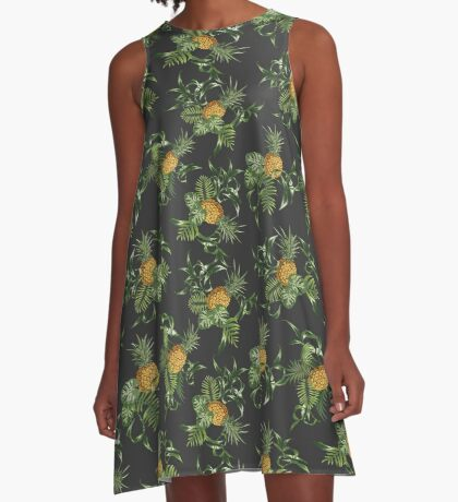 Pineapple Tree Flower Lily Flora  A-Line Dress