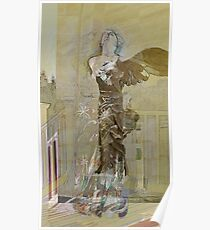 Becca with the Winged Victory of Samothrace Poster