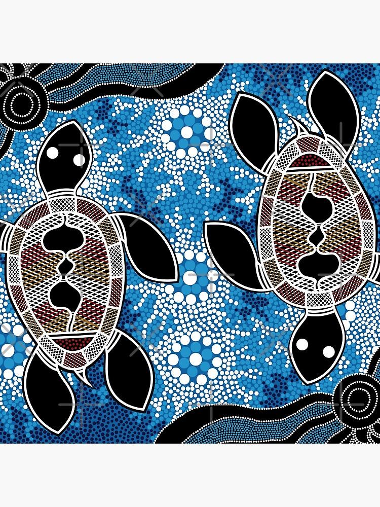 Authentic Aboriginal Art  - Sea Turtles by HogarthArts