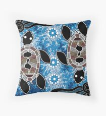 Aboriginal Art Authentic - Sea Turtles Floor Pillow