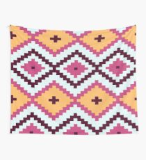 Pink And White Diamond Pattern Native Aztec Wall Tapestry