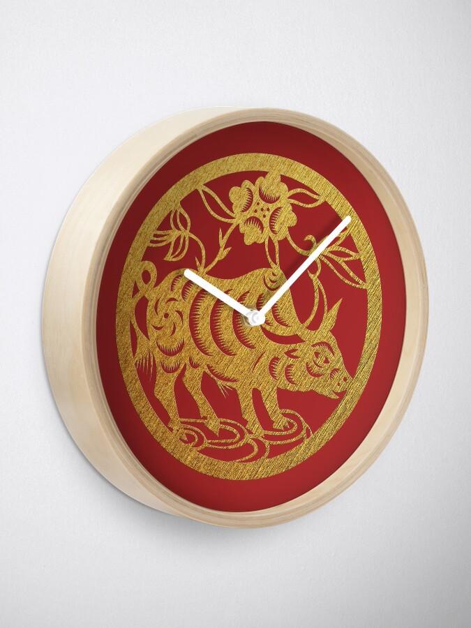Chinese Zodiac Ox in Gold | Clock