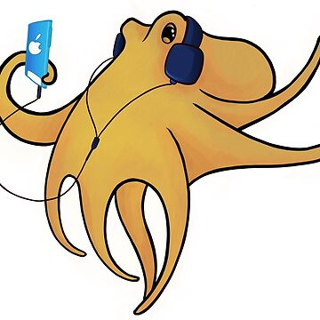 Cool Summer Octopus listening to iPod  by Inklingsofgrace