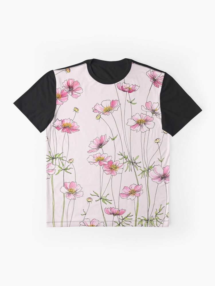 Alternate view of Pink Cosmos Flowers Graphic T-Shirt