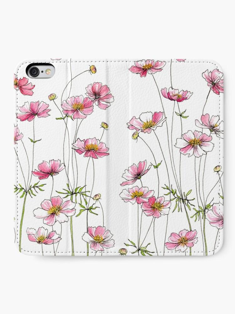Alternate view of Pink Cosmos Flowers iPhone Wallet