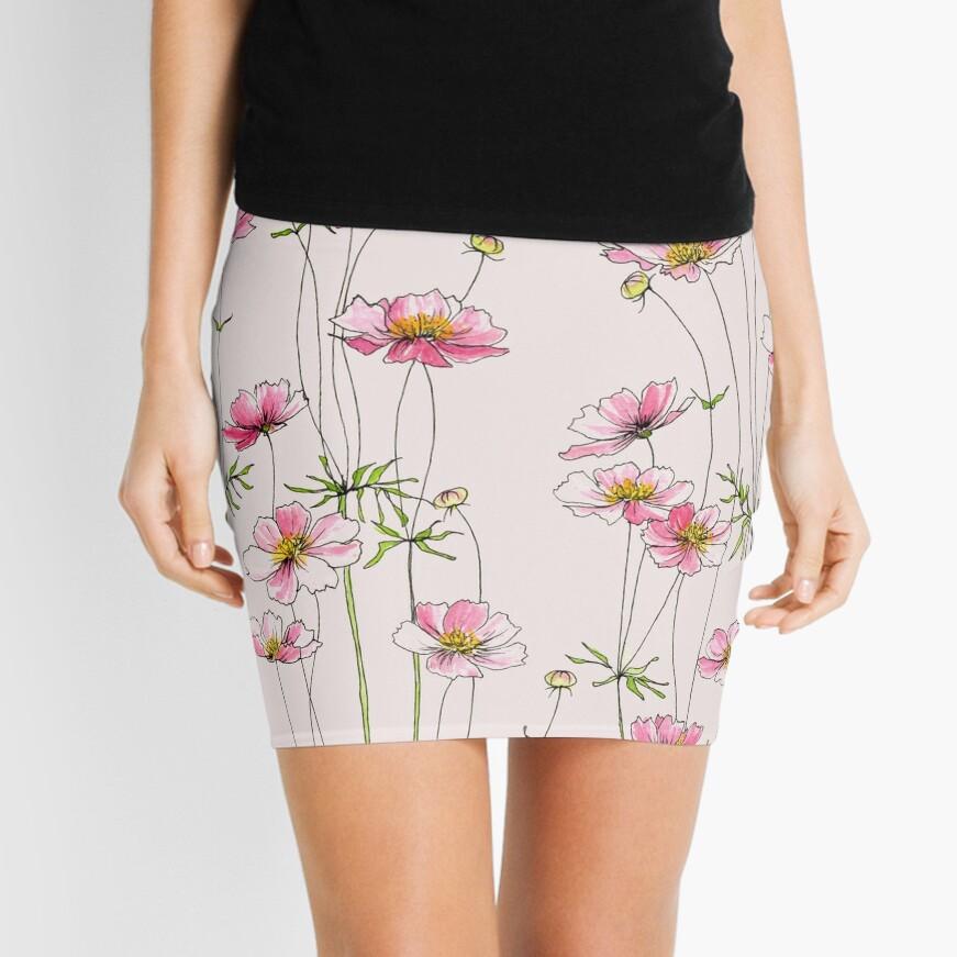 Pink Cosmos Flowers Mini Skirt