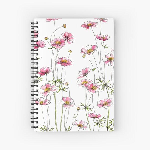 Pink Cosmos Flowers Spiral Notebook