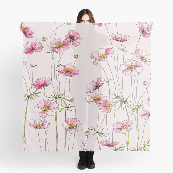 Pink Cosmos Flowers Scarf