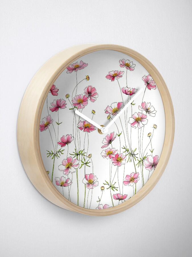 Alternate view of Pink Cosmos Flowers Clock