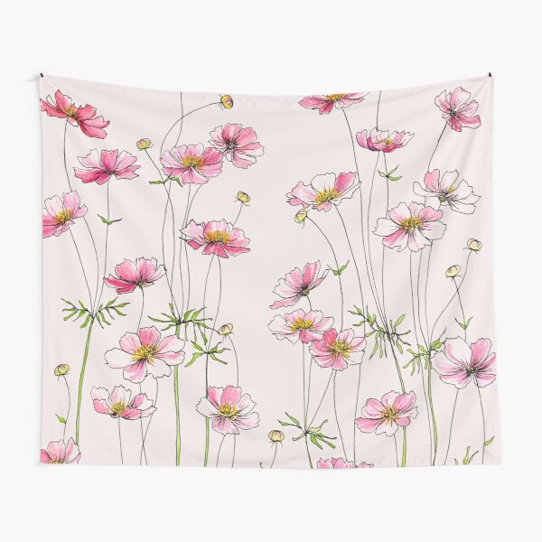 Pink Cosmos Flowers Tapestry