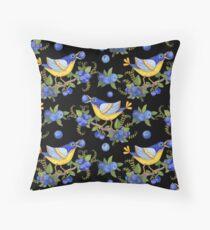 Whimsical Bird & Blueberries on Black Throw Pillow