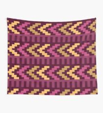Brown And Purple Left Pointing Arrowhead Native Aztec Pattern Wall Tapestry