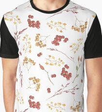 Hand painted burgundy orange yellow watercolor berries leaves Graphic T-Shirt