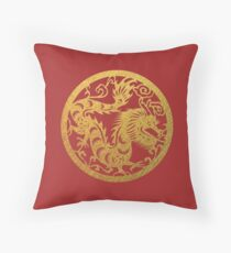 Chinese Zodiac Dragon in Gold Throw Pillow
