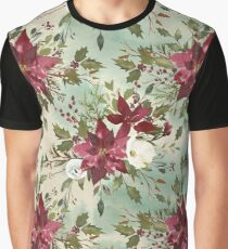 Hand painted burgundy white green watercolor floral Graphic T-Shirt