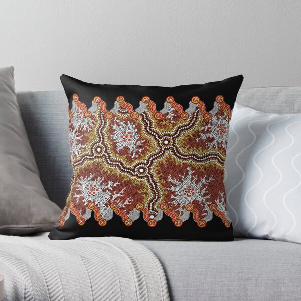 Aboriginal Art Authentic – Travels Throw Pillow