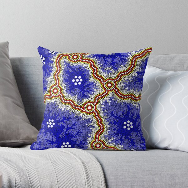 Aboriginal Art Authentic - Water Wetlands Throw Pillow