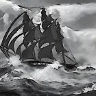 A Clipper Ship in black and white 19th century by Dennis Melling