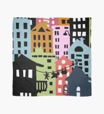 Night at the City Silhouette Buildings Scarf