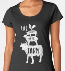 Distressed Life is Better on the Farm Animals White Women's Premium T-Shirt