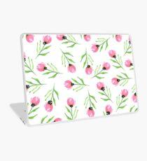 Pink tulips on white background Laptop Skin