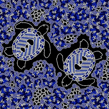 Aboriginal Art Turtles- Sea Turtle Dreaming by HogarthArts