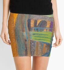orange and blue landscape Mini Skirt
