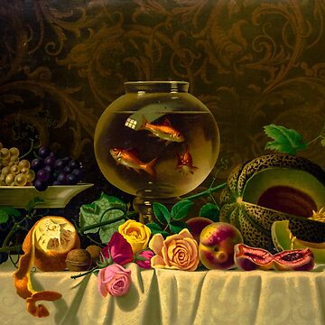 Goldfish bowl on a table with fruit and roses by SiliconValleyUS