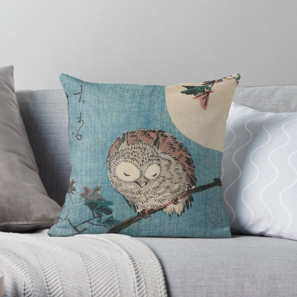 HD Small Horned Owl on Maple Branch under Full Moon, by Utagawa Hiroshige HIGH DEFINITION Throw Pillow