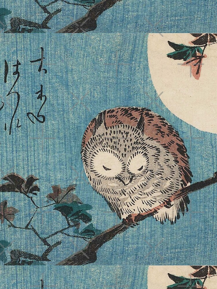 HD Small Horned Owl on Maple Branch under Full Moon, by Utagawa Hiroshige HIGH DEFINITION by mindthecherry
