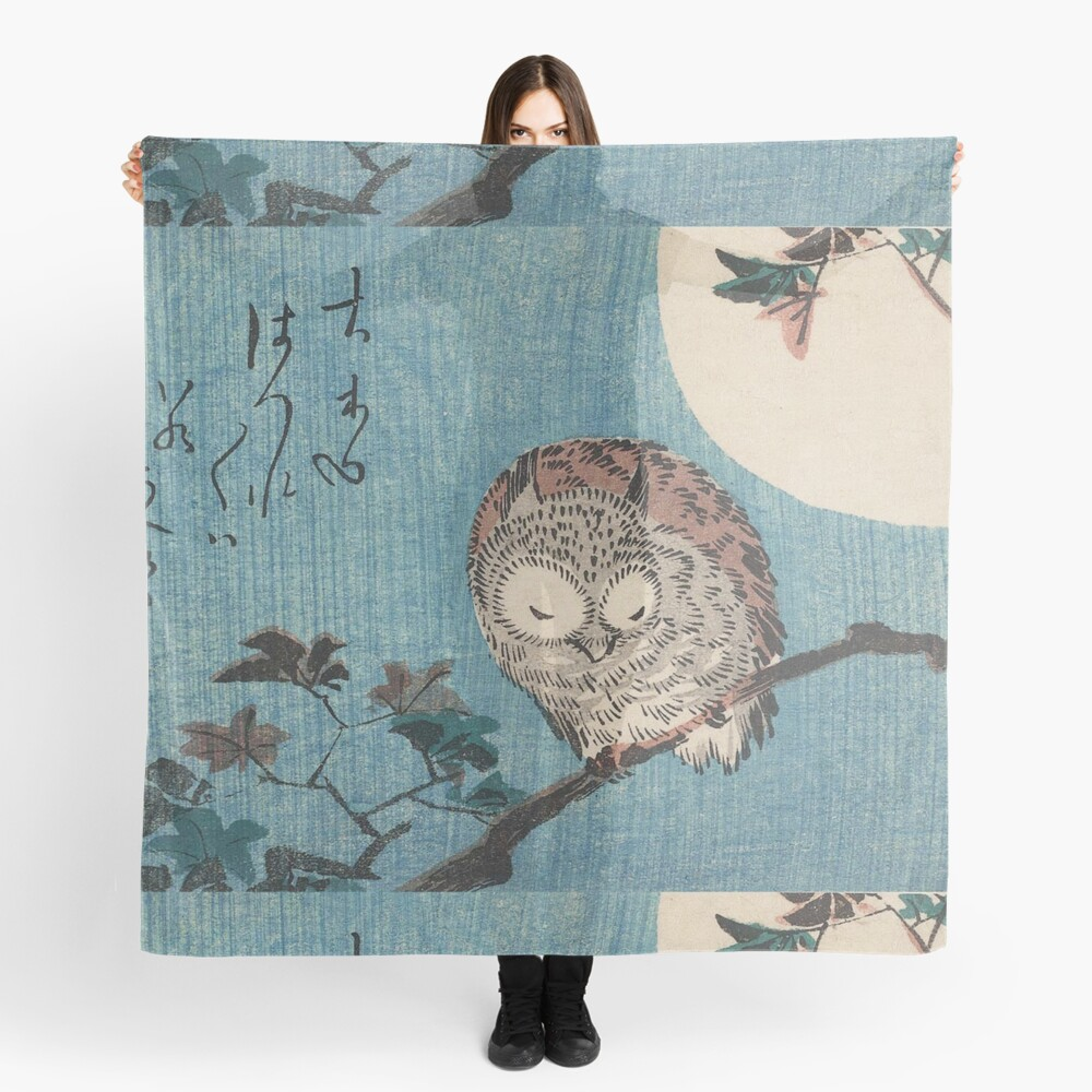 HD Small Horned Owl on Maple Branch under Full Moon, by Utagawa Hiroshige HIGH DEFINITION Scarf