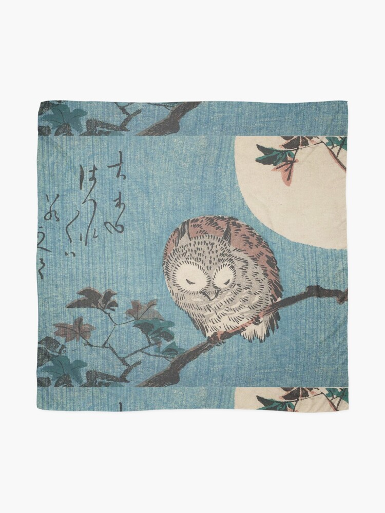 Alternate view of HD Small Horned Owl on Maple Branch under Full Moon, by Utagawa Hiroshige HIGH DEFINITION Scarf